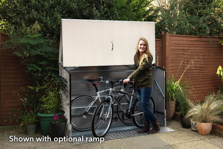 Box per biciclette Bicycle Store bianco con rampa